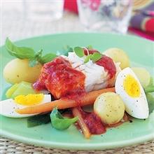 Marinerad torsk med tomat och vitlök - 20 min - 4 portioner